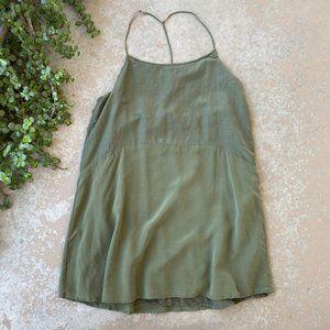 Anine Bing Combined Silk Slip Dress in Green